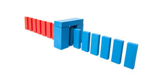 Red blocks changing to blue Stock Photo