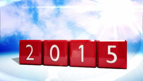 Red blocks changing from 2014 to 2015 stock illustration