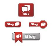 Red blog buttons. Suitable for user interface Royalty Free Stock Photo