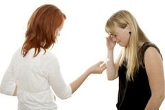 Red and blond haired girls try to calm while cry Stock Images