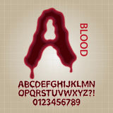 Red Blood Alphabet and Numbers Vector Royalty Free Stock Photography