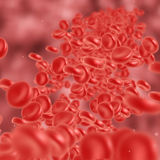 Red blood cell flowing. In vein or artery. 3d render. Healthcare and medical zoom concept Stock Image