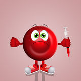 Red blood cell with syringe Royalty Free Stock Images