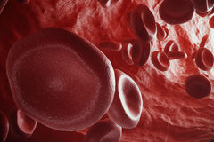 Red blood cells in artery, flow inside body, concept medical human health care, 3d rendering Royalty Free Stock Image