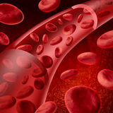 Red blood cells flowing Stock Photo