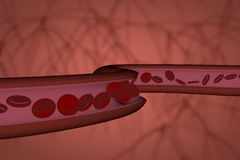 Red blood cells flowing through vein or artery. Scientific, medical or microbiological abstract background, 3D render illustration Royalty Free Stock Photos