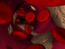 Red (blood) cells inside vein. 3d rendered illustration of many blood cells Stock Photo