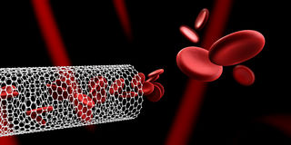 Red blood cells in nano tube. Blood elements, Illustration Stock Photography