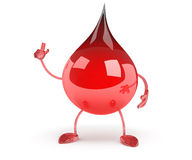 Red Blood Drop Cartoon Character Showing Muscle Arms Stock Photography
