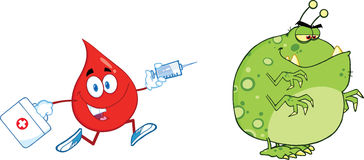 Red Blood Drop Character Chasing With A Syringe Germ Or Virus Royalty Free Stock Photography