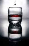 Red blood fluid in glass Royalty Free Stock Images