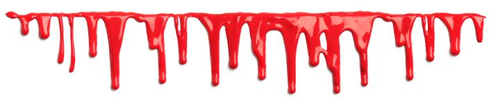 Red blood like paint dripping isolated. On white royalty free illustration