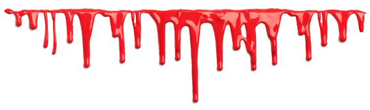 Red blood like paint dripping isolated. On white stock photos