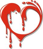 Red blood (liquid) heart Stock Photography