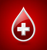 Red blood medical icon. Isolated on bloody red background Royalty Free Stock Photo