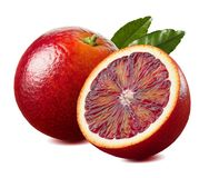 Free Red Blood Orange And Half With Leaf Isolated On White Background Stock Photography - 108260432