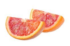 Red blood orange fruit with slices isolated on white background stock images