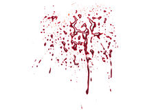 Red blood splatter. Isolated on a white studio background stock photos
