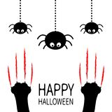 Red bloody claws animal scratch scrape track. Black cat scratching paw leg foot set. Hanging spider. Happy Halloween. Cute cartoon Stock Image