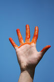 Red bloody hand royalty free stock images