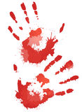Red bloody hand prints with splashes. Vector element for your creativity Royalty Free Stock Photos