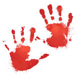 Red bloody hand prints with splashes. Vector element for your creativity Royalty Free Stock Photo