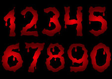Red bloody numbers. Scary numbers. Bloody numbers. Red numbers. Horror numbers Royalty Free Stock Photos