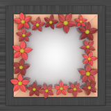 Red blossom square frame on metallic surface Stock Photography