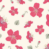 Red blossoms seamless pattern stock illustration