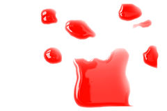 Red blot of India ink. The photograph of flooding India ink Royalty Free Stock Photo