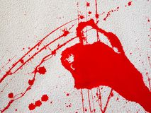 Red blot and splatter paint on white background. Red blot and splashes of paint on a white background. expressionism royalty free stock photos