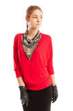 Red blouse, black skirt, leather gloves and metal accessories Stock Images