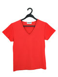 A red blouse on a hanger royalty free stock image