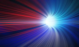 Red and blue abstract speed motion in highway tunnel. For technology background ,fast moving toward the light, 3d illustration Royalty Free Stock Image