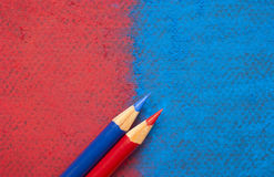 Red or blue. American presidential election. American colors. Will it be red or blue? Republican or Democrat? Vote with your best sharpened pencils. Pastel stock photography