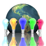 Red, Blue And Green Lightbulbs Stock Photography