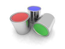 Red, Blue And Green Paint Cans Stock Photos
