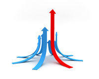 Red and blue arrows Stock Photo