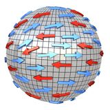 Red and blue arrows on abstract globe. Arrows moves in different direction. Conceptual 3d illustration Royalty Free Stock Photos