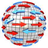 Red and blue arrows on abstract globe. Arrows moves in different direction. Conceptual 3d illustration Stock Photo
