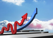Red and blue arrows pointing up Stock Photo