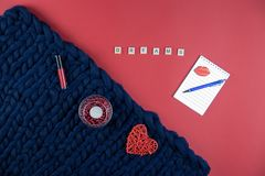 on red and blue background women& x27;s accessories, cosmetics and de stock photos