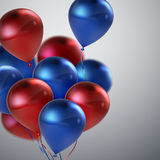 Red And Blue Balloon Bunch. Vector Holiday Illustration Of Flying Red And Blue Balloons. Birthday Or Other Holiday Event Decoration Element Stock Images