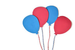 Red and blue balloon paper cut on white background Royalty Free Stock Photo