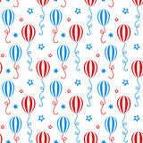 Red and blue balloons. Independence day of America festive seamless pattern background. Patriotic american holiday Fourth of July. Vector illustration Stock Images