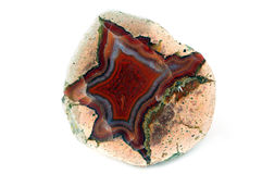 Red blue banded agate stone Stock Images