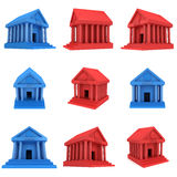 Red and blue Bank building 3d icon Stock Image