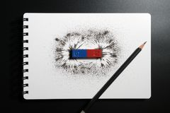 Red and blue bar magnet or physics magnetic, pencil and iron pow. Der magnetic field on white background. Scientific experiment in science class in school royalty free stock photography