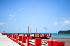 Red and blue on the beach Royalty Free Stock Photo