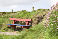Red and blue bench at the edge of a cliff Stock Photos
